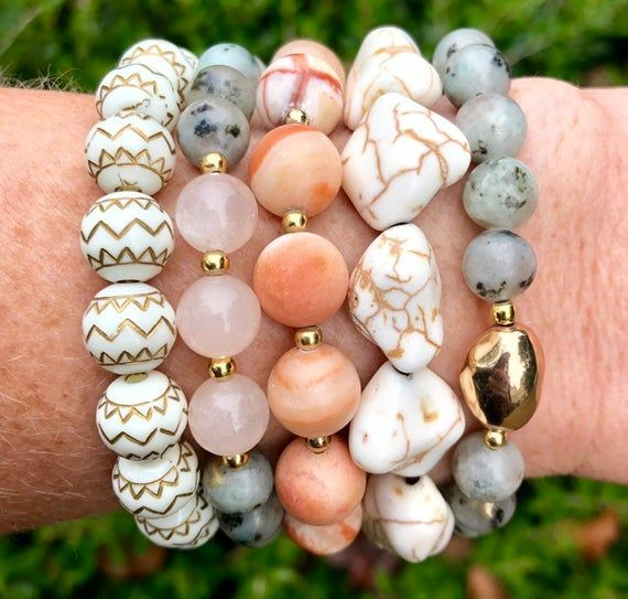 Gemstone Jewelry, Unique Gifts for Her, Inexpensive Gifts for Her, Handmade Jewelry, Handmade Bracelets, Chunky Bracelets, Fall Trends #gemstonejewelry