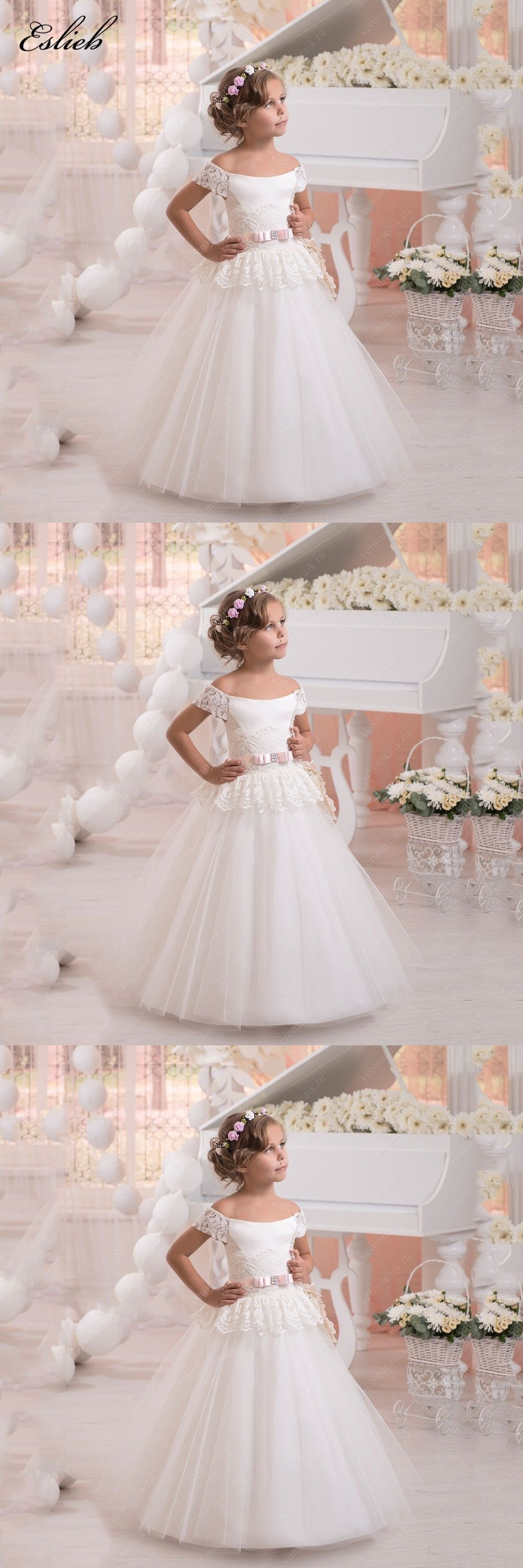 Stunning tulle ball gown holy communion dresses lace up shoulderless