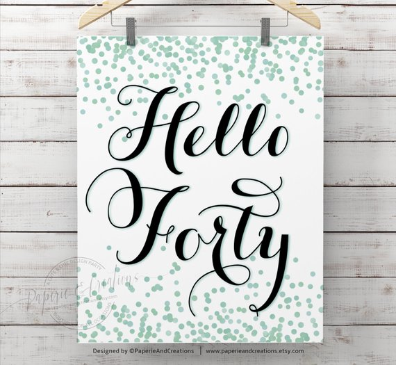 Forty Sign 40th Birthday Poster Hello Mint Green Confetti Milestone Party Decorations Wal