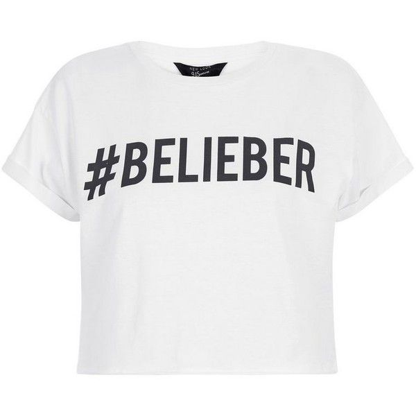 Teens White #Belieber Print Crop Top ❤ liked on Polyvore featuring tops, short sleeve crop top, white crop top, crop top, white short sleeve top and pattern tops