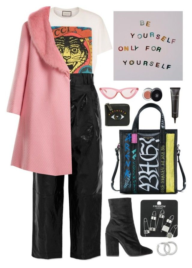 """icey"" by s-ensible ❤ liked on Polyvore featuring Gucci, Balenciaga, Philosophy di Lorenzo Serafini, Shrimps, Dries Van Noten, Topshop, Le Specs, Kenzo, Laura Geller and Chanel"