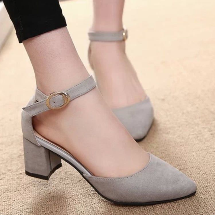3d0b1413317 Plain Chunky Mid Heeled Velvet Ankle Strap Point Toe Date Office Pumps