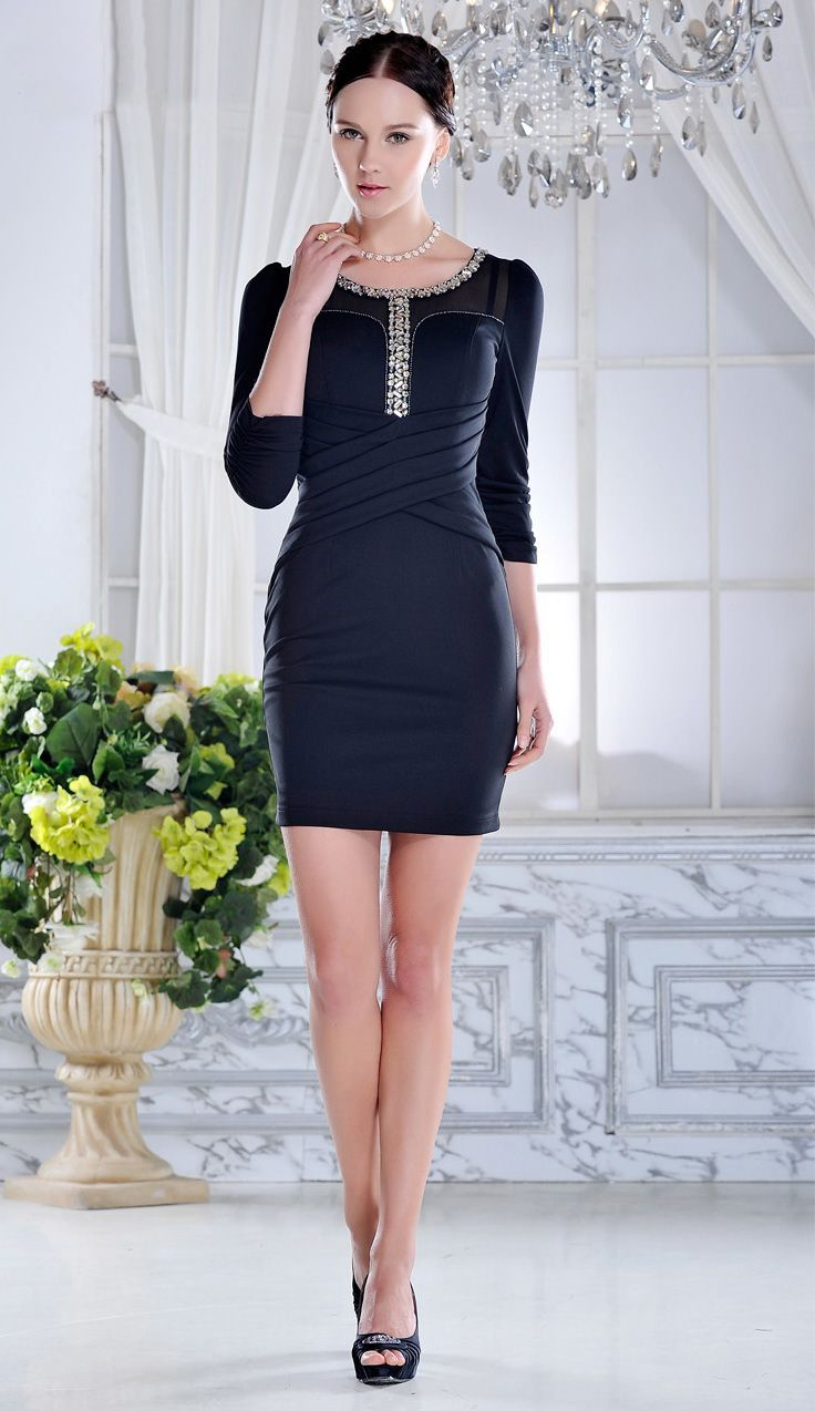 Sleeved black short formal dress with charming neckline my style