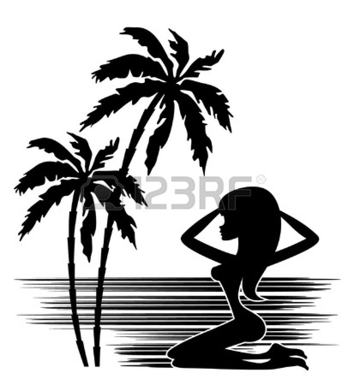 11113097-tropics-a-palm-tree-and-woman-silhouette-on-a-white ...