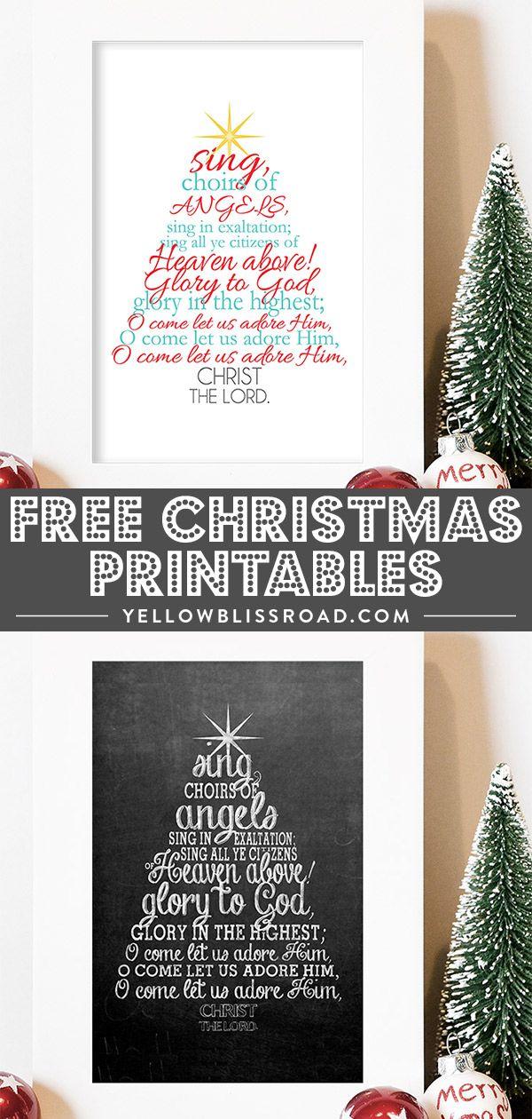 O Come All Ye Faithful Lyrics (Free Christmas Printable