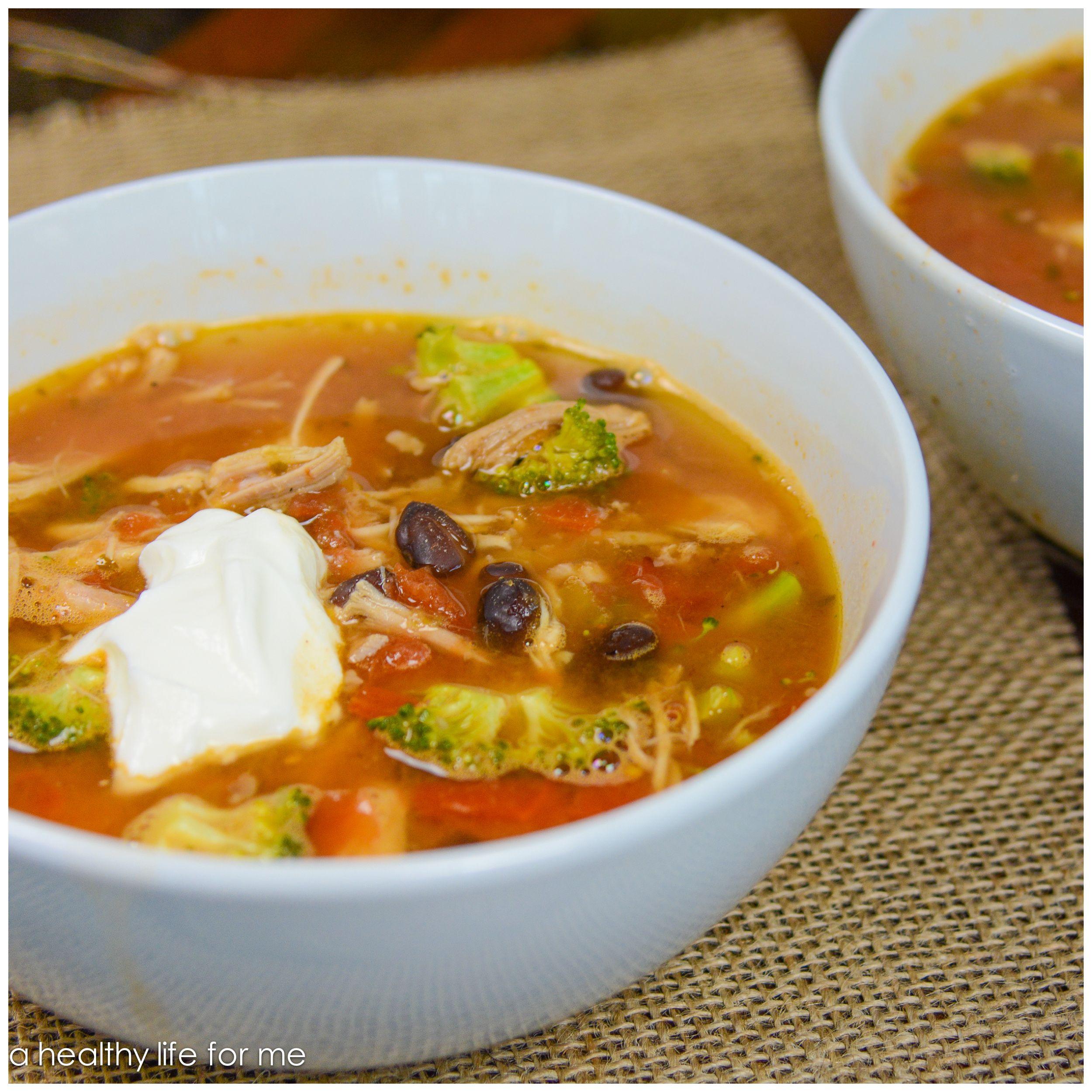 Healthy Turkey Tortilla Soup Recipe with Amy Stafford at www.ahealthylifeforme.com