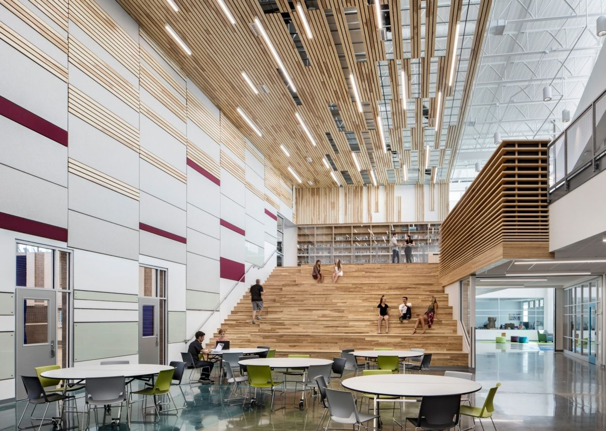 Atrium And Tiered Seating From Pathways Innovation Center And Roosevelt High School Education