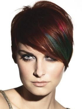 Unusual Short Hair Long Fringe Side Sweep Grey Blue Green And