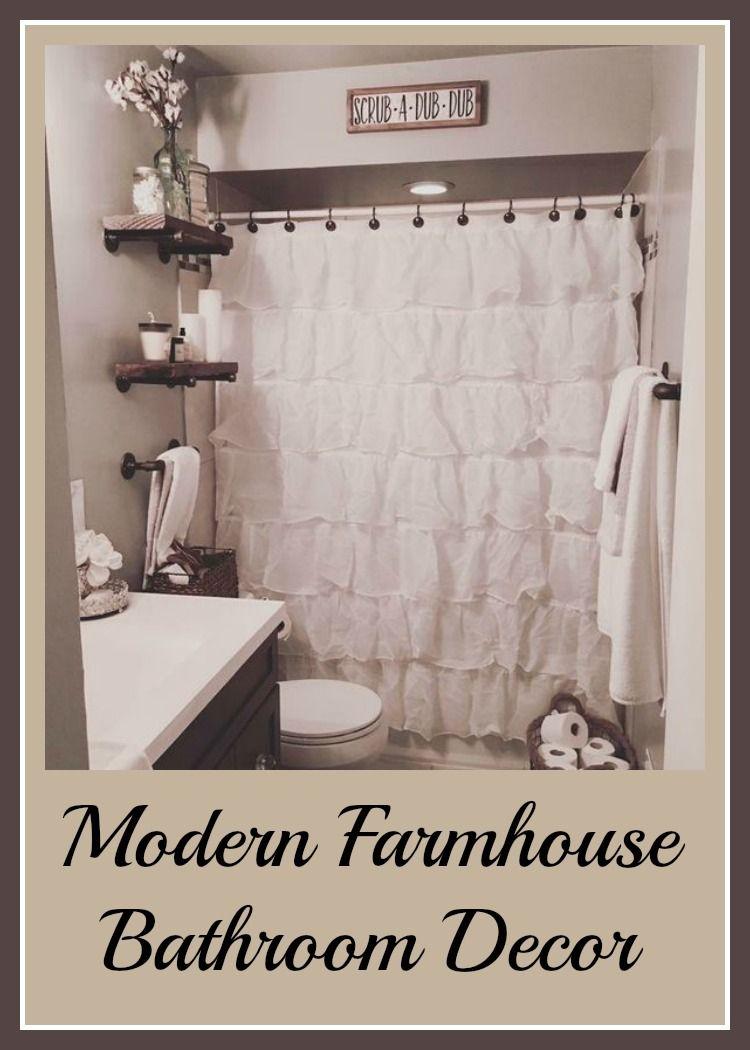 I love this modern Farmhouse bathroom! The ruffled shower