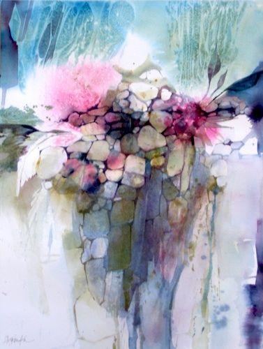 Karen Ku Plants And Rocks Watercolor 24 X 20 Aquarelle