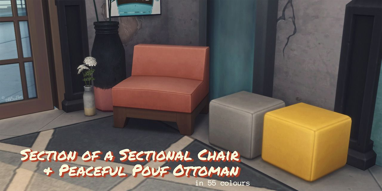 SECTION OF A SECTIONAL CHAIR; PEACEFUL POUF OTTOMAN; OLD WORLD WIDE PLANK  FLOORING U2013 By Amoebae Some Simple Recolours Iu0027ve Done For My Current Build.