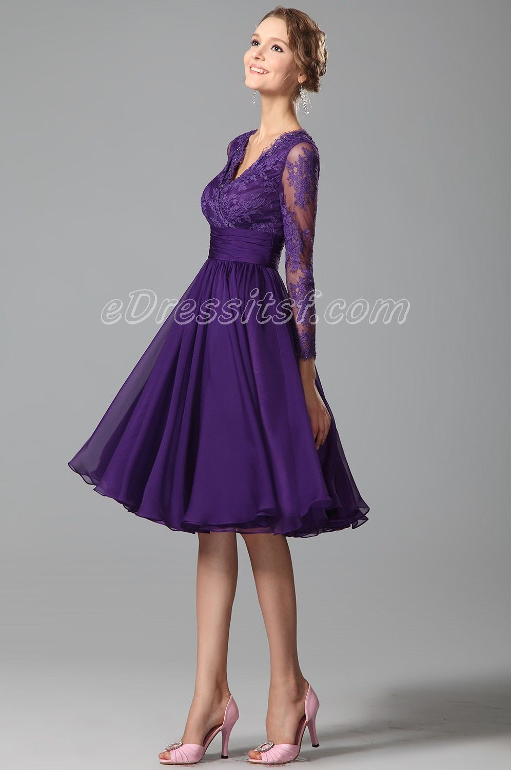 New Purple Cocktail Dress Party Dress With Long Lace Sleeves ...