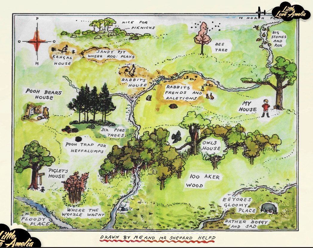This is an awesome Hundred Acre Wood map ~ done by artist on Etsy ...