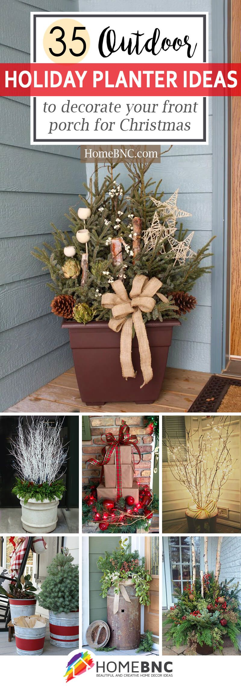 festive outdoor holiday planter ideas to decorate your front