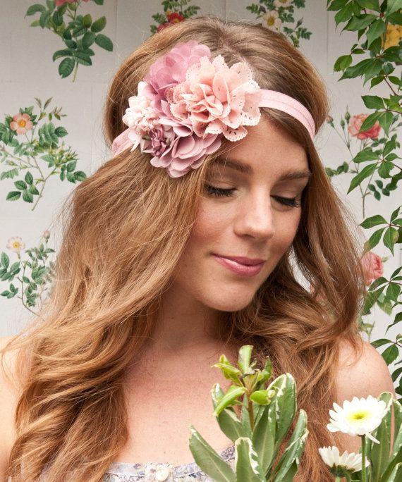 SALE Pink Flower Headband Floral Headband por LoveHeadmistress