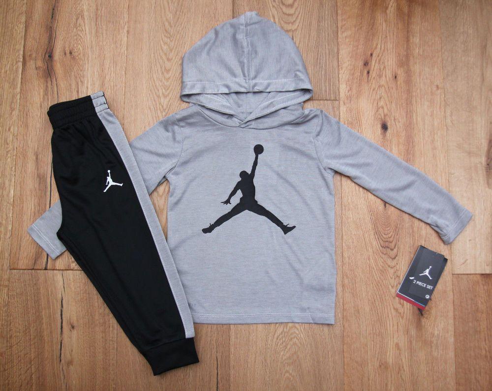 b7bff2428ee Jordan Baby Boy 2 Piece Hooded Top & Jogging Pants Set ~ Gray, Black &  White ~ #Jordan #JoggingSet #babyboy #jumpman