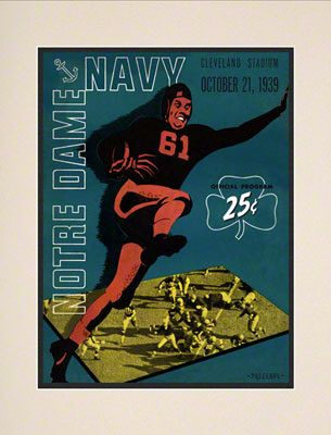 1939 Notre Dame Fighting Irish Vs Navy Midshipmen 10 1 2 X 14