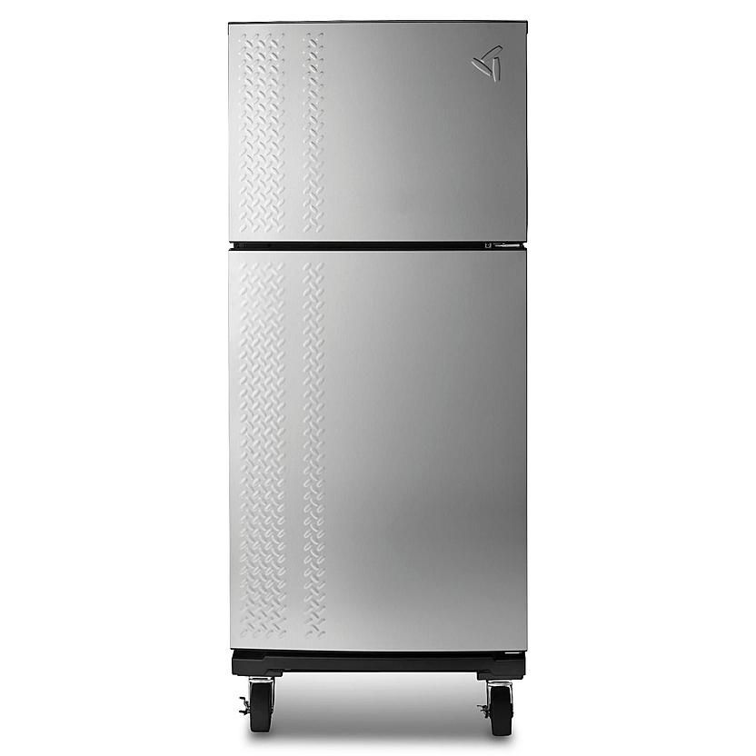Diamond Plated Refrigerator With Wheels For The Shop Garage Refrigerator Refrigerator Top Freezer Refrigerator