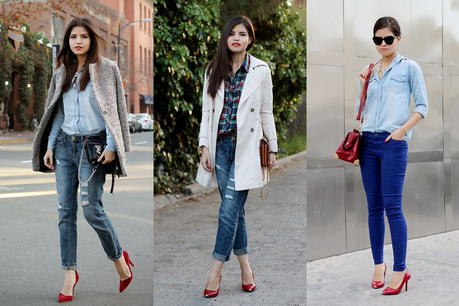 b0cf953f640 How to wear red pumps | Casual | Red pumps, Red shoes, Double denim