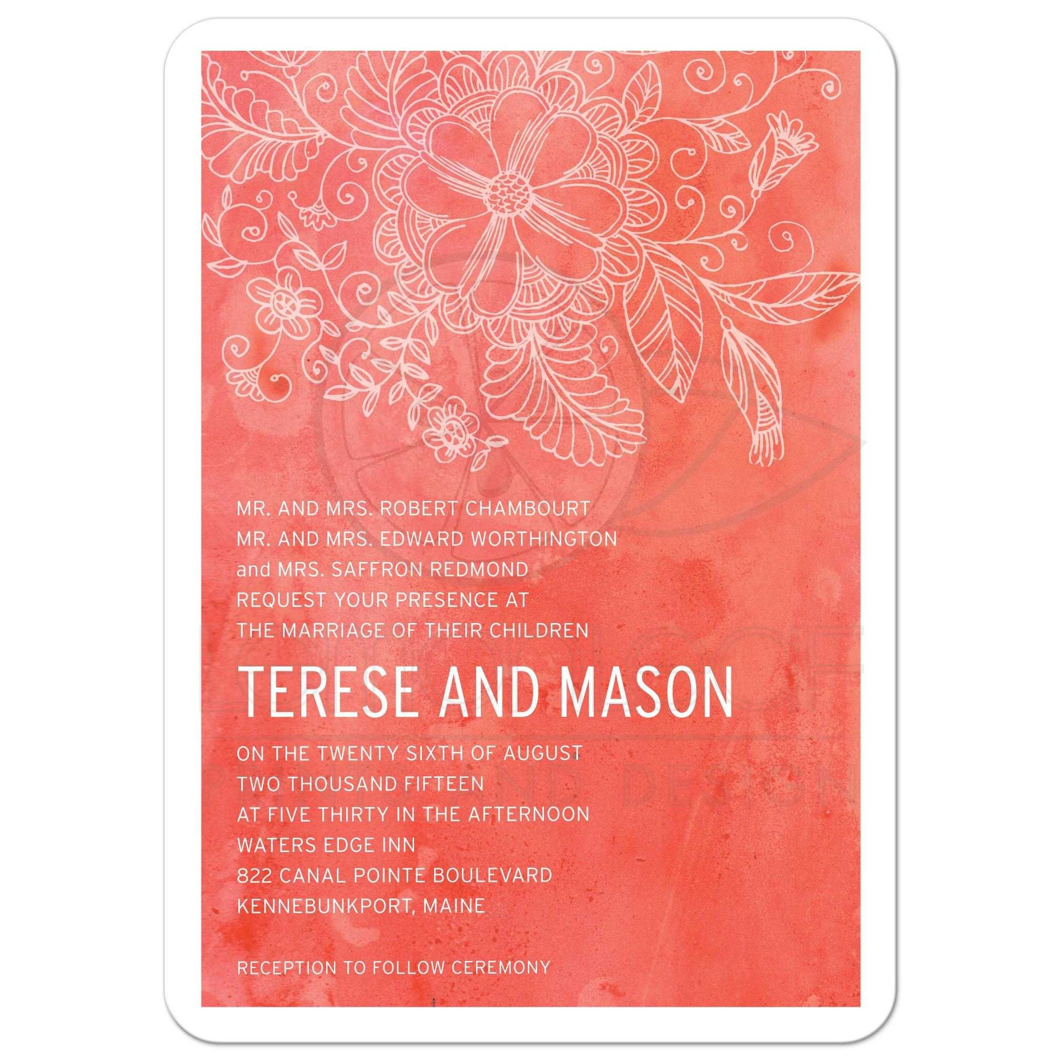 Wedding invitation - Outlined Floral Orange Watercolor | Outlines ...