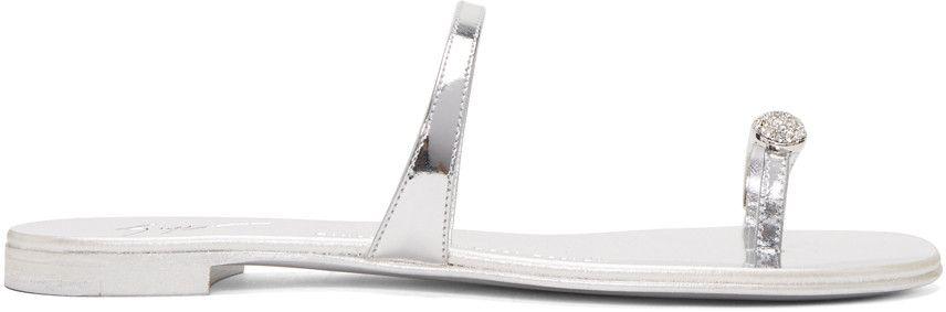 GIUSEPPE ZANOTTI Silver Patent Nuvorock Sandals. #giuseppezanotti #shoes #sandals