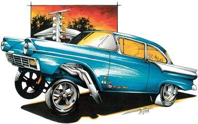 Ratfink T Shirt 57 Chevy 1957 Hot Rod Clothes Classic Car Shirt Outrageous Tee