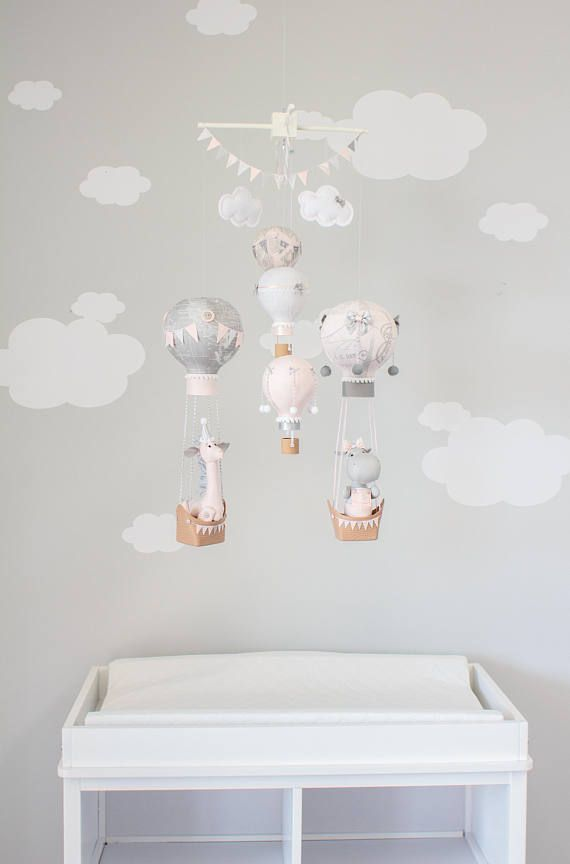Heissluft Ballon Baby Mobile, Baby Mädchen Dekor, Kinderzimmer, Rosa, Weiß  Und Grau