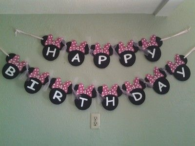 Minnie Mouse Banner with Pink Bows   eBay