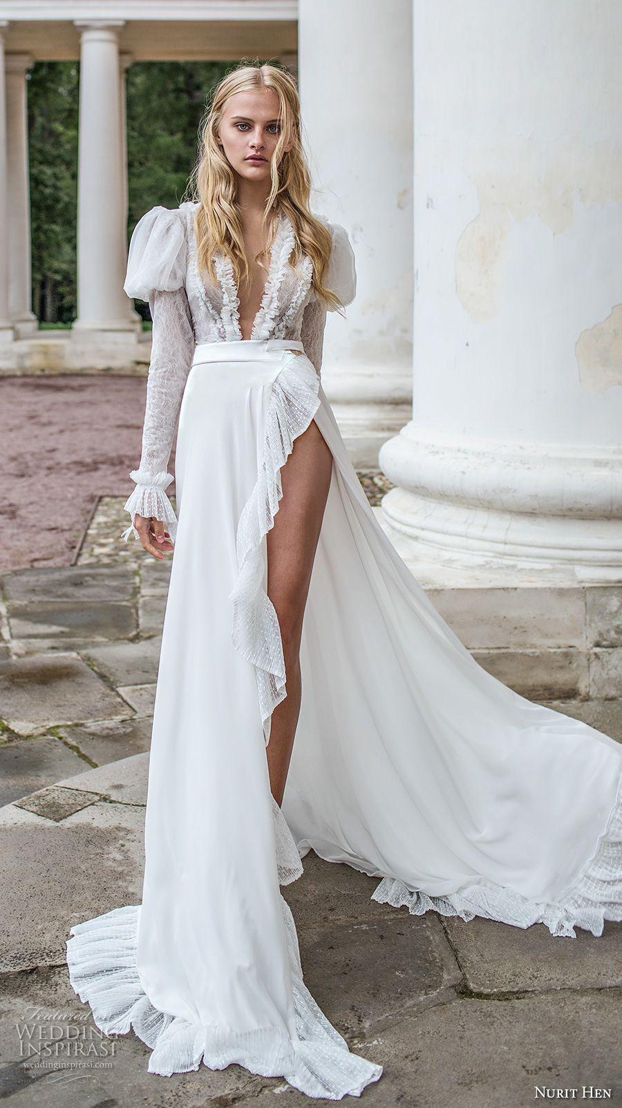 nurit hen 2017 bridal long puff sleeves deep plunging v neck sexy  unconventional flowy high slit a line wedding dress chapel dress (3) mv --  Nurit Hen Ivory ... cc8b8cbca