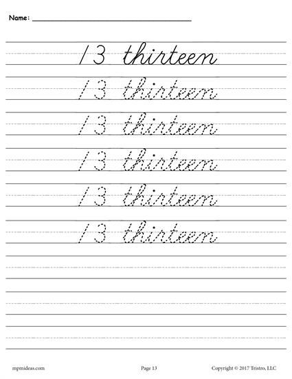 Free Cursive Handwriting Number Tracing Worksheets 1 20 Tracing