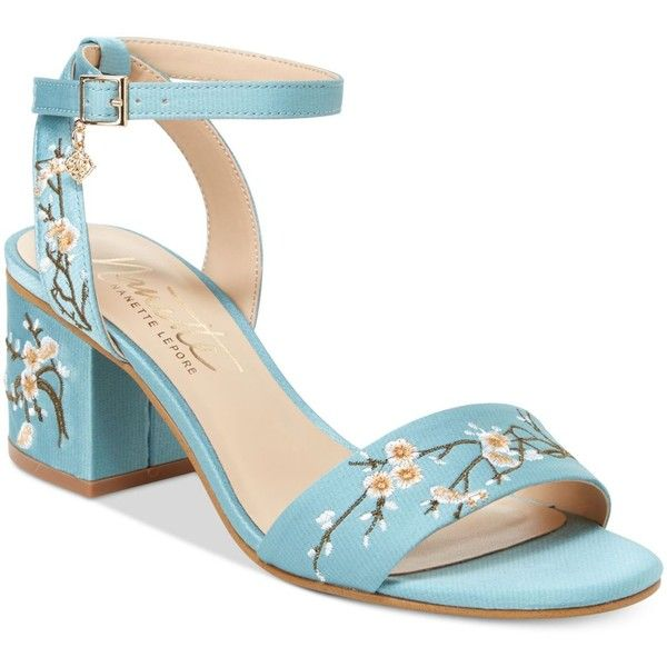 Nanette by Nanette Lepore Ruby Two-Piece Block-Heel Sandals, ($39) ❤ liked on Polyvore featuring shoes, sandals, dusty blue, strappy shoes, cherry blossom shoes, embroidered sandals, strappy dress sandals and nanette lepore