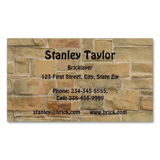 Bricklayer masonry block stone business card this great for Masonry business card ideas