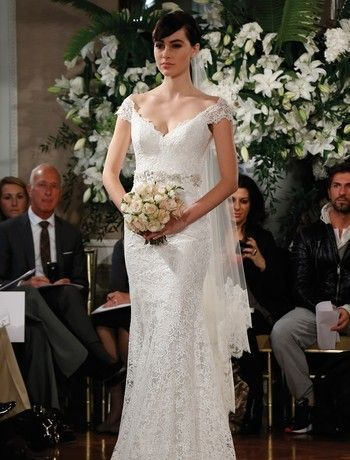 Legends by Romona Keveza - V-Neck Sheath Gown in Lace
