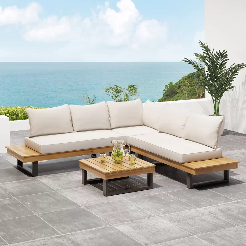4 Piece Teak Sectional Seating Group With Cushions Outdoor Sofa Sets Seating Groups Sectional