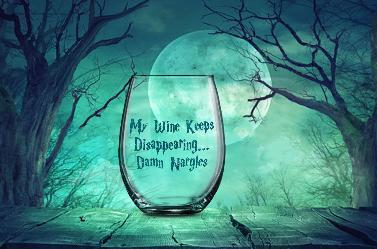 My Wine Keeps Disappearing Damn Nargles, Funny Harry Potter Gift, Unique Gift for Potter Fan, Harry Potter Wine Glass, Nargles Did It