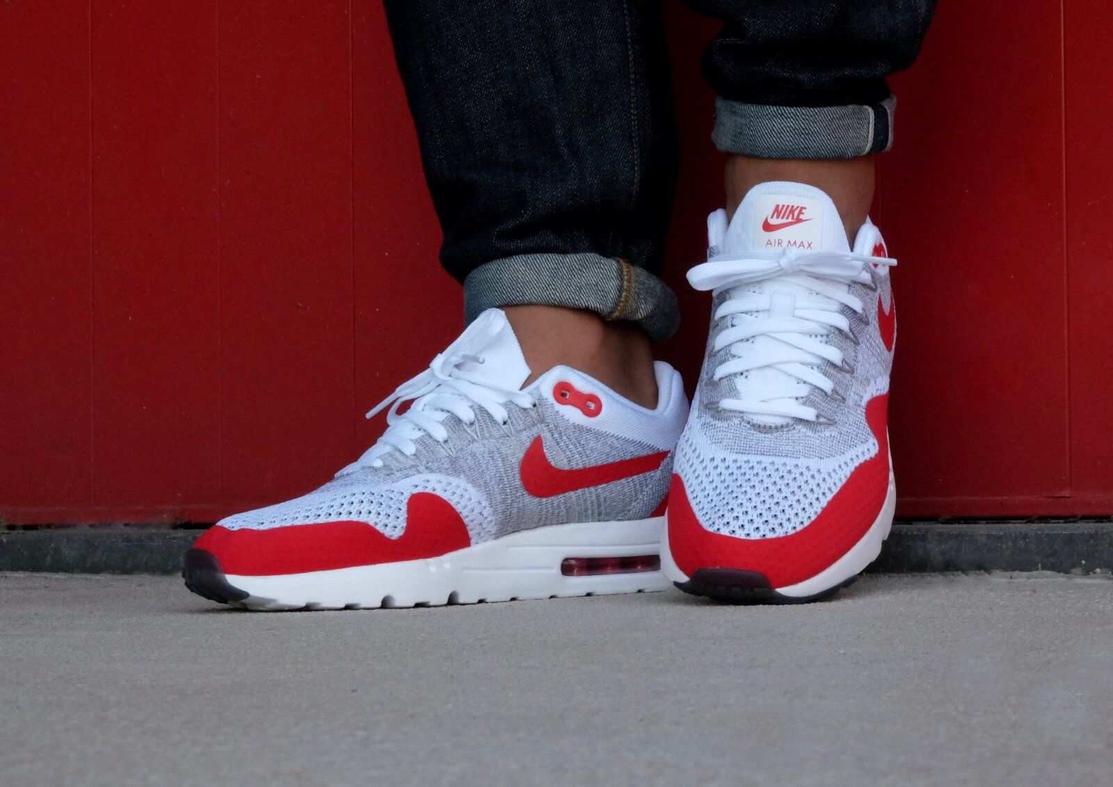 421b1071a8f10 Cheap Nike Air Max 1 Ultra Flyknit White Pure Platinum Cool Grey University Red  Womens UK