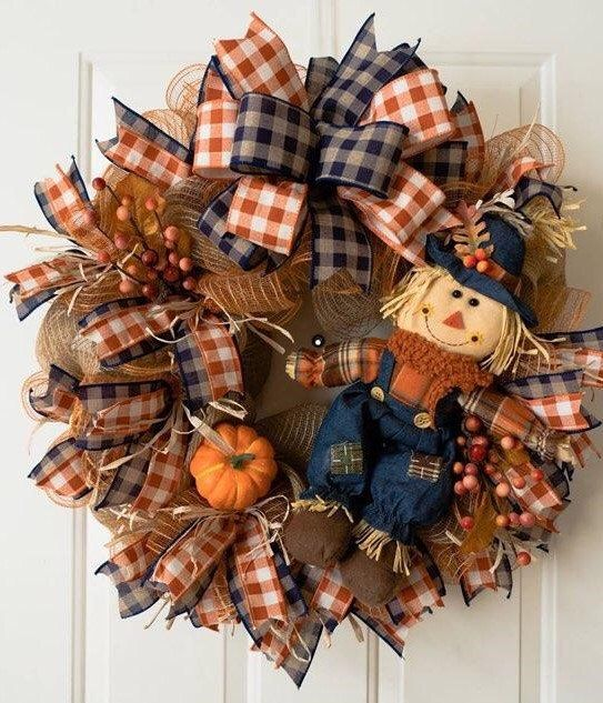 Free Ship Scarecrow Wreath, Blue Scarecrow Wreath, Fall Wreath, Scarecrow Front Door Wreath, Front Door Wreath, Fall Front Door Wreath #scarecrowwreath