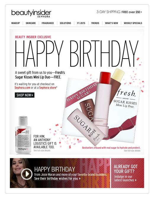 Birthday email deals \ steals - encouraging recipients to shop - sample happy birthday email