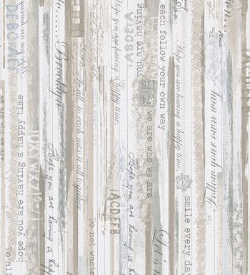 Papel pintado madera decapada con letras estilo country - Papel pintado imitacion madera ...
