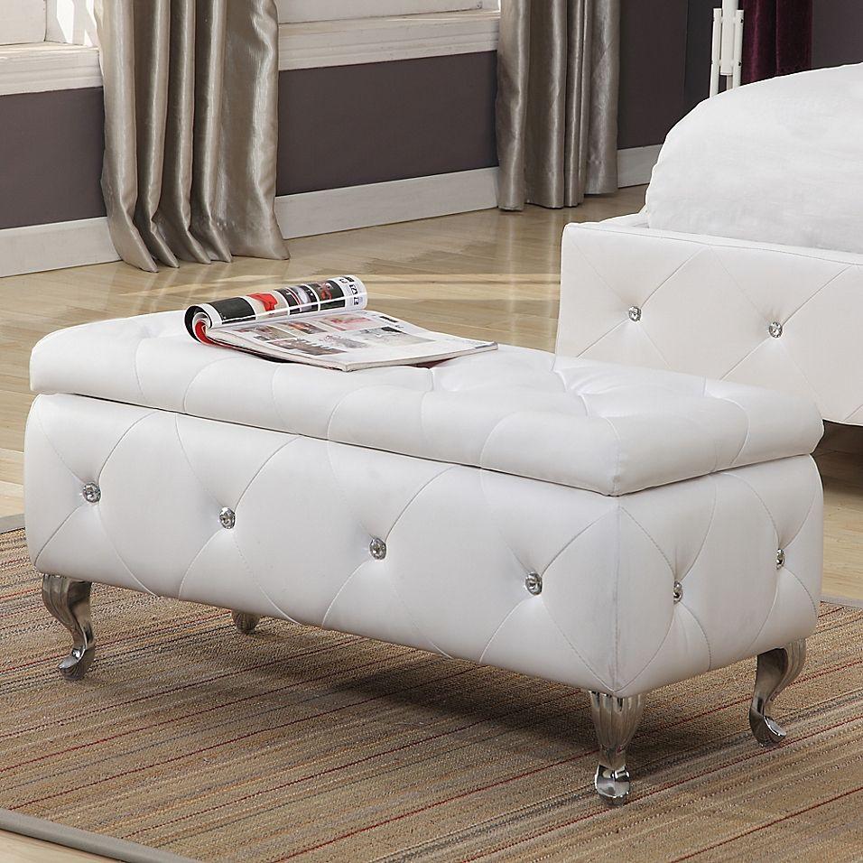 K&b Furniture B5104 Upholstered Bench In White In 2020