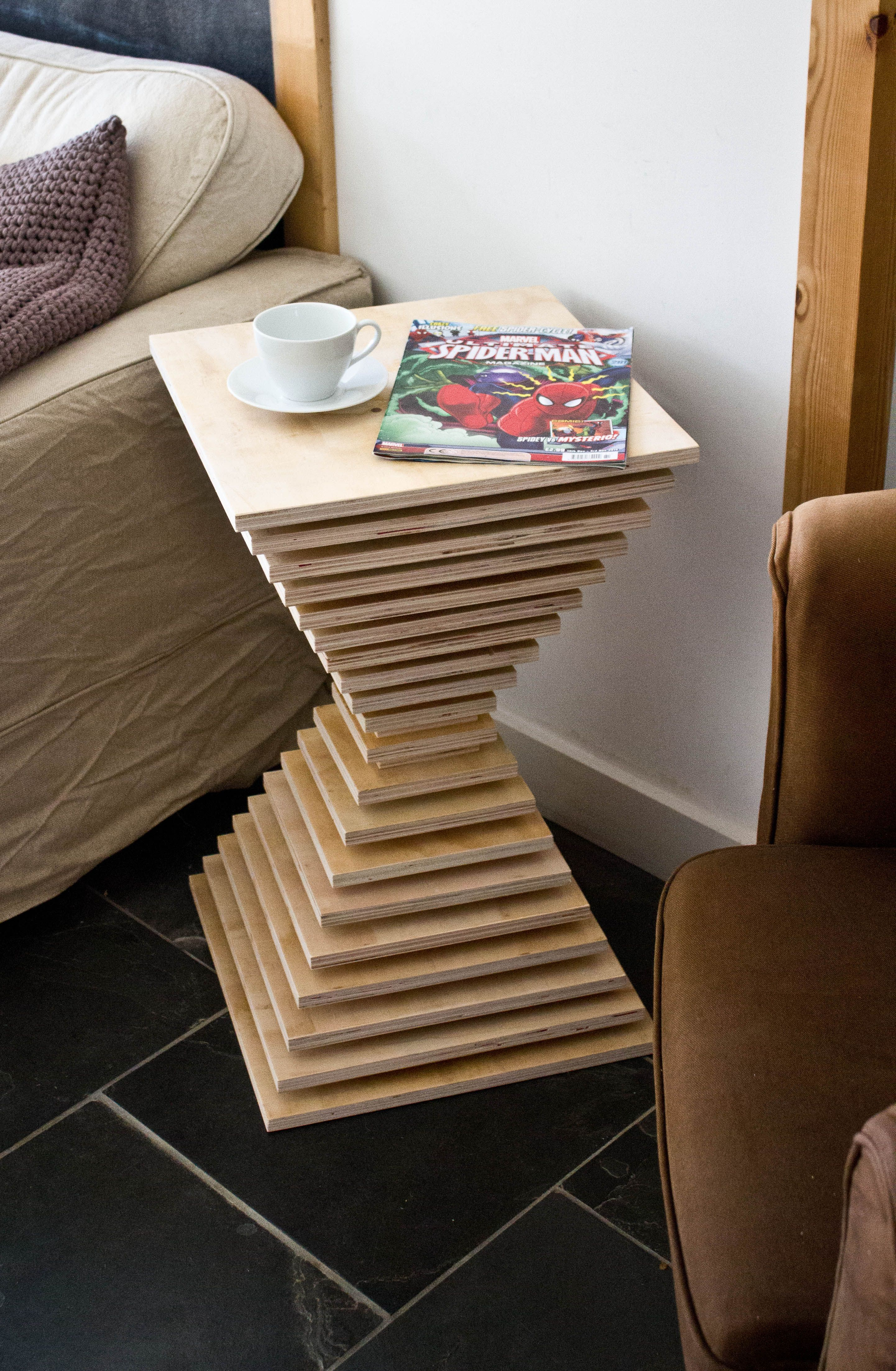 Table Made From Offcuts Of Plywood From A Shop Fitting Job