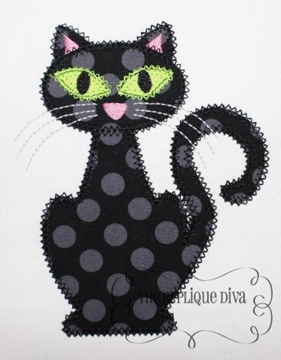 Halloween Black Cat Digital Embroidery Design Machine Applique