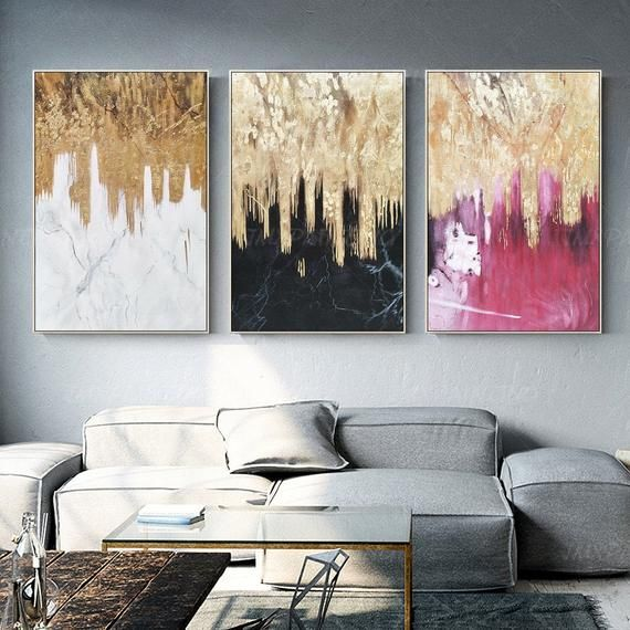 Gold Art 3 Piece Wall Art Original Abstract Painting Set Of 3 Etsy In 2021 3 Piece Wall Art White Wall Art Acrylic Painting Canvas