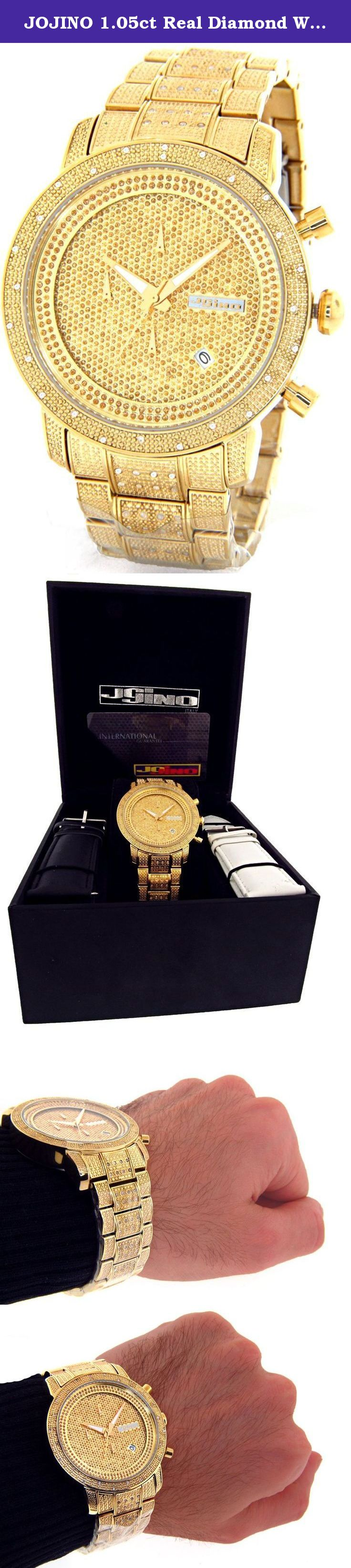 5aa50c6ffc8 JOJINO 1.05ct Real Diamond Watch Mens Deluxe Gold Tone Case Diamond Band  MJ-1000B