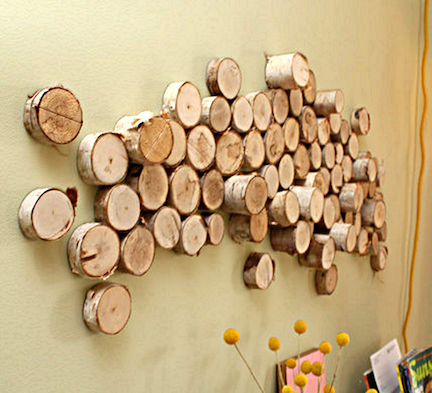 twigs-and-branches, cheap wall decor, for my log cabin some day ...