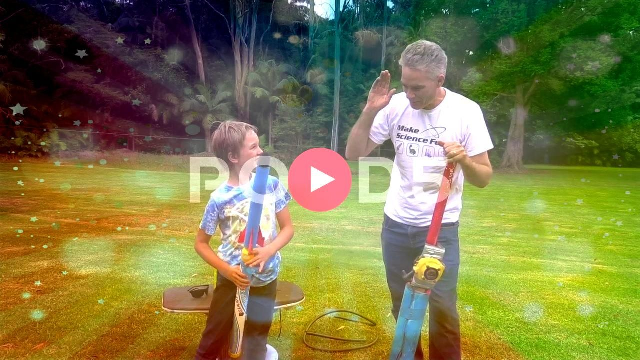 professor dad and son adapt toy rocket launcher for extra fire power Stock Footage sonadapttoyNuttyNutty professor dad and son adapt toy rocket launcher for extra fire po...