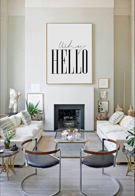Why Hello Poster Scandinavian Print Fashion Quote Wall Art 70x100