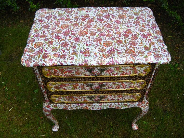 decorating furniture with paper. DIY Re-decorating Furniture Using Decopatch Paper And Glue - Table Or Side Unit Decorating With D