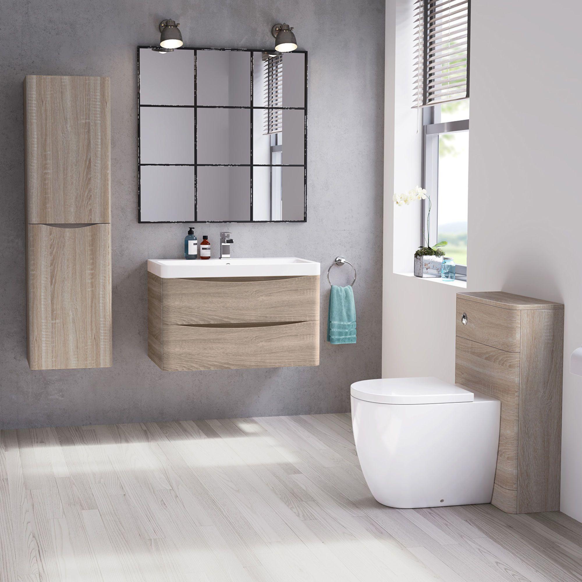 800mm Austin Ii Light Oak Effect Built In Basin Drawer Unit Wall Hung Bathroom Wall Units Bathroom Furniture Storage Vanity Units