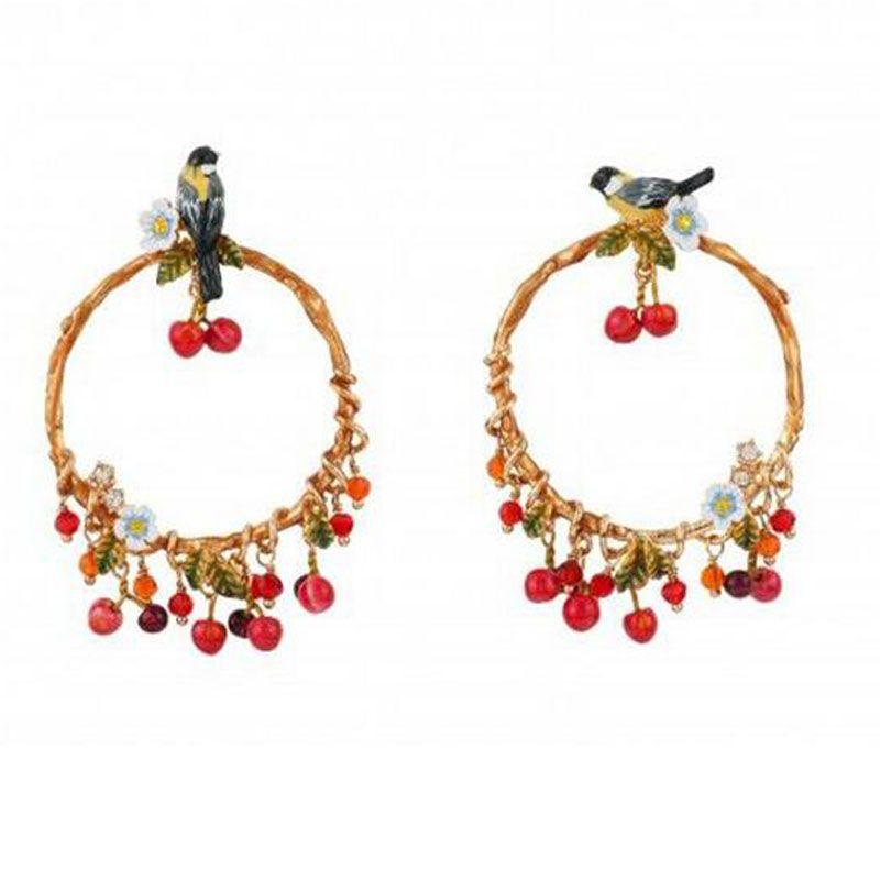 les nereides earrings Birds On Blossom Hoops